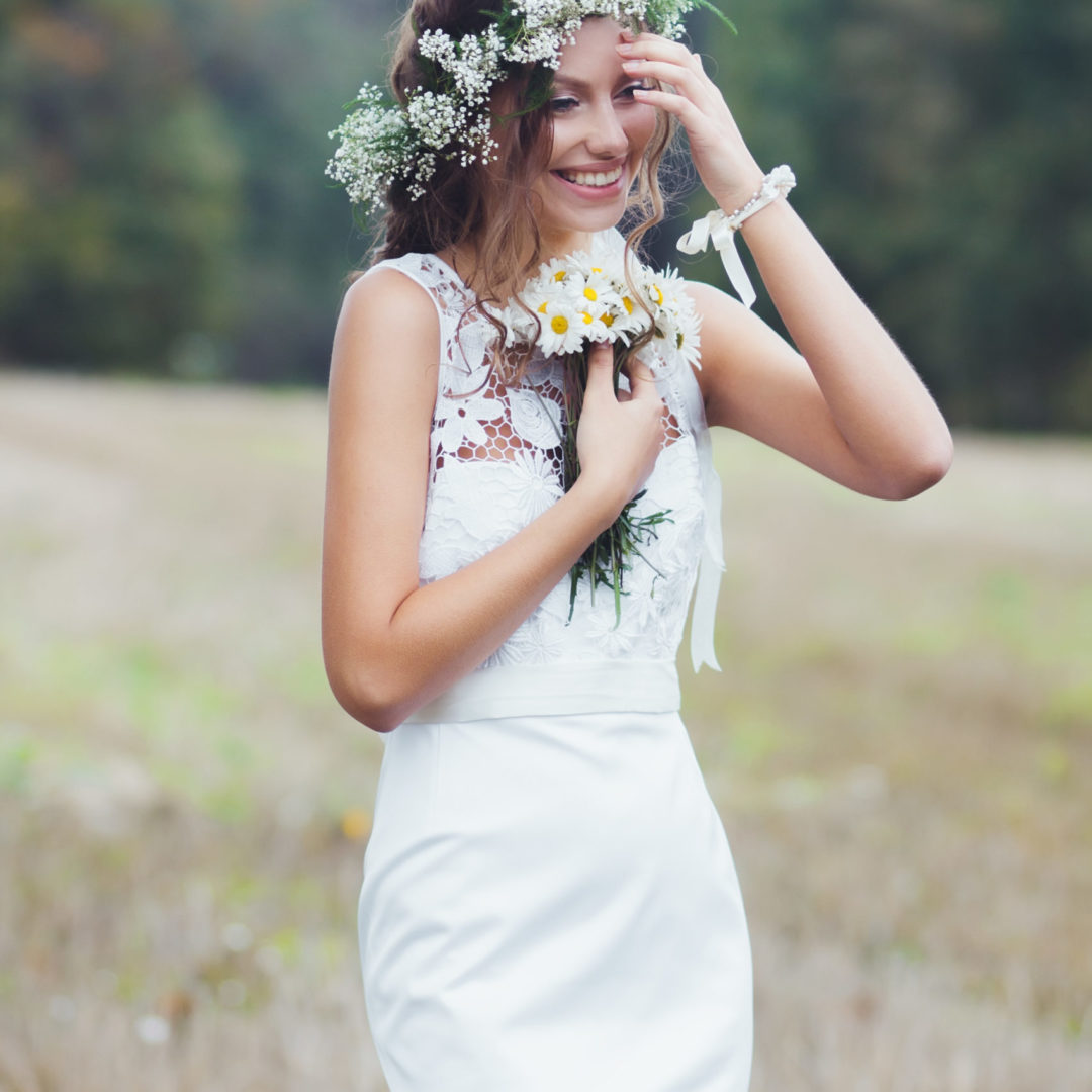 Portrait of a beautiful bride outdoors